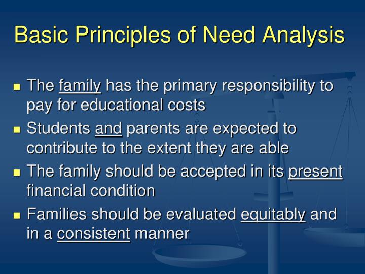 Basic Principles of Need Analysis