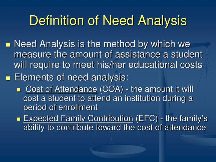 Definition of Need Analysis
