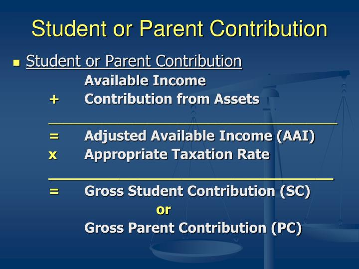 Student or Parent Contribution