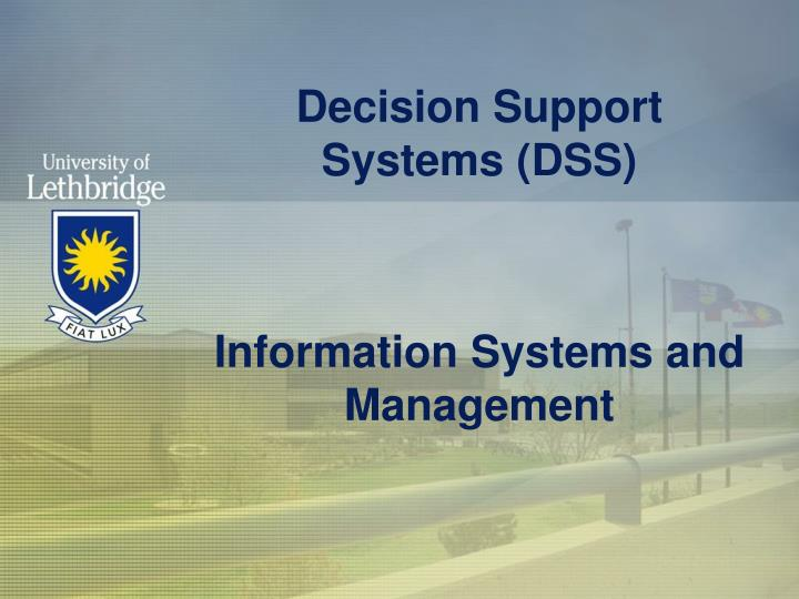 decision support systems dss information systems and management n.