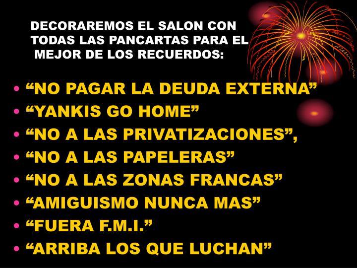 DECORAREMOS EL SALON CON
