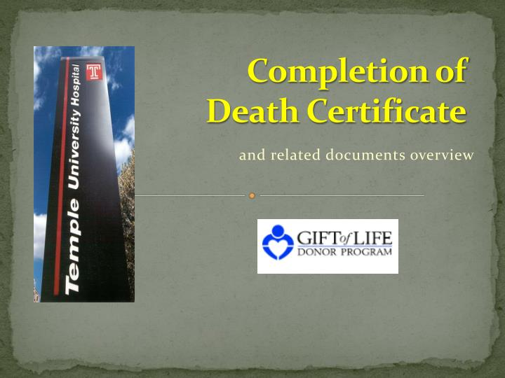 Completion of Death Certificate