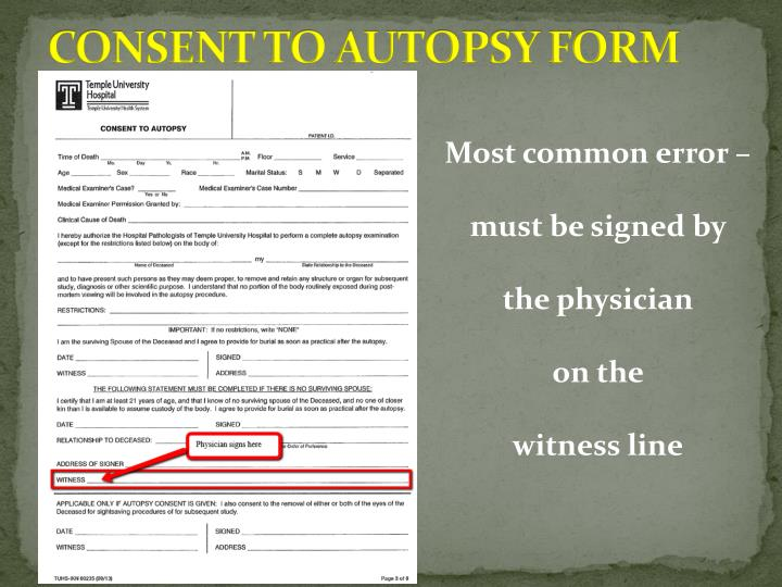 CONSENT TO AUTOPSY FORM