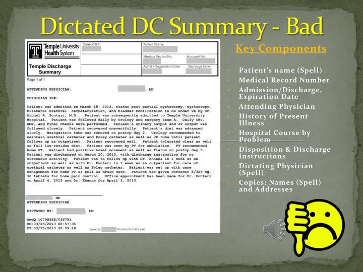 Dictated DC Summary - Bad
