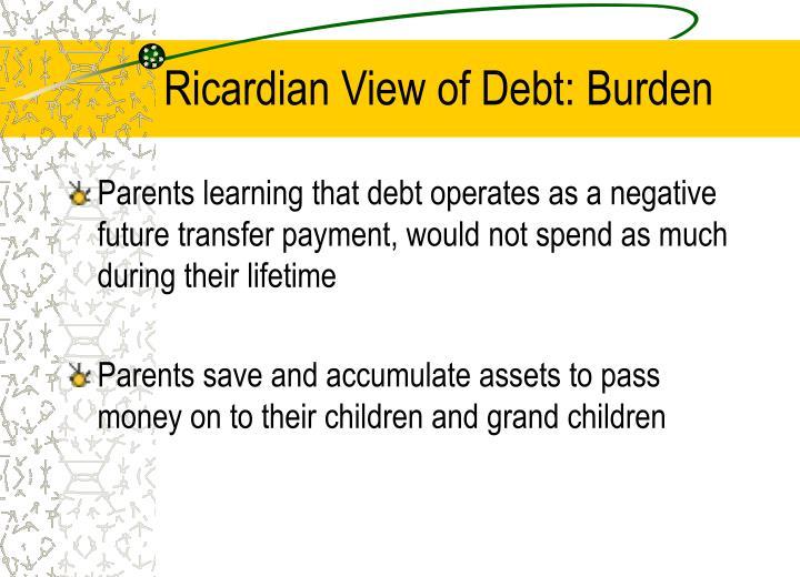 Ricardian View of Debt: Burden