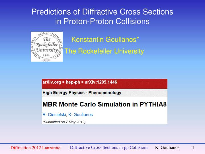 predictions of diffractive cross sections in proton proton collisions