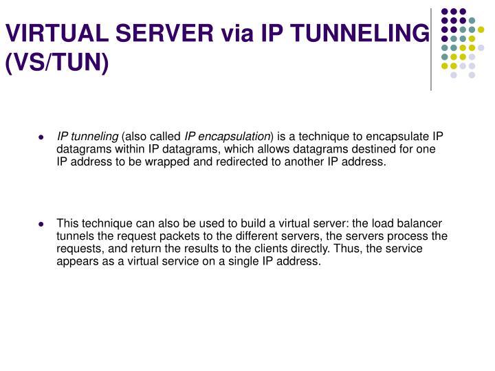 VIRTUAL SERVER via IP TUNNELING (VS/TUN)