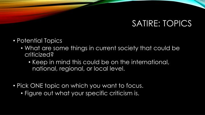Satire: Topics