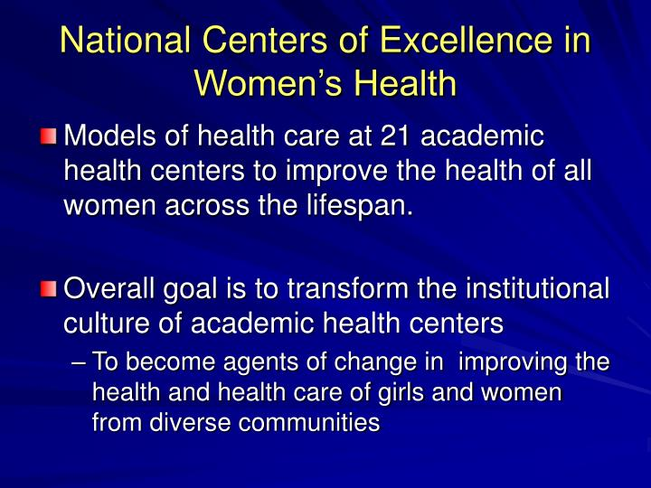 National Centers of Excellence in Women's Health