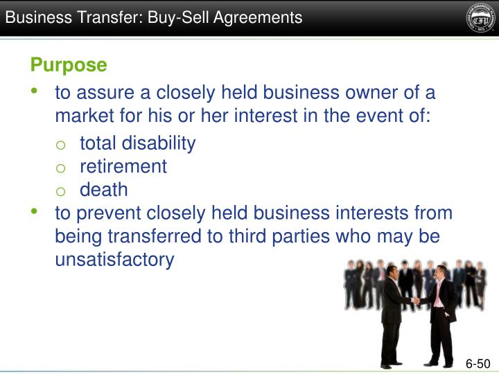 Business Transfer: Buy-Sell Agreements