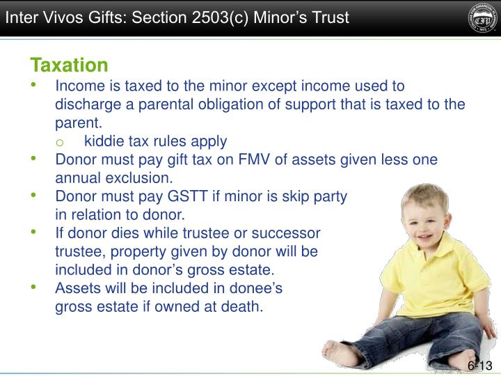 Inter Vivos Gifts: Section 2503(c) Minor's Trust