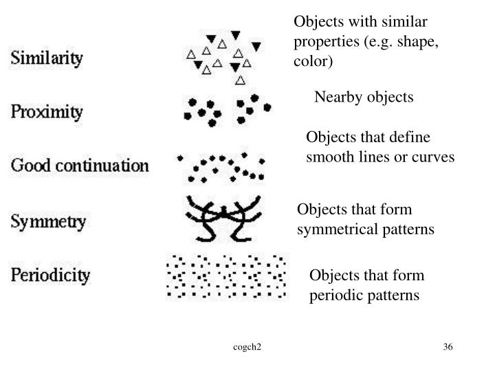 Objects with similar properties (e.g. shape, color)