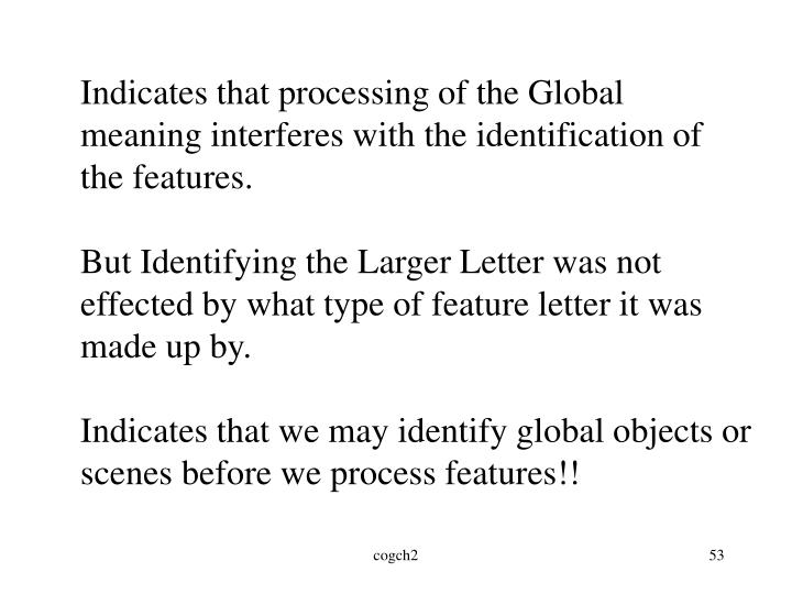 Indicates that processing of the Global meaning interferes with the identification of the features.