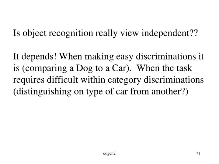 Is object recognition really view independent??
