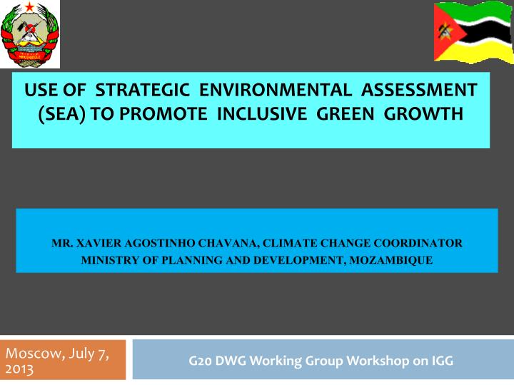 use of strategic environmental assessment sea to promote inclusive green growth n.