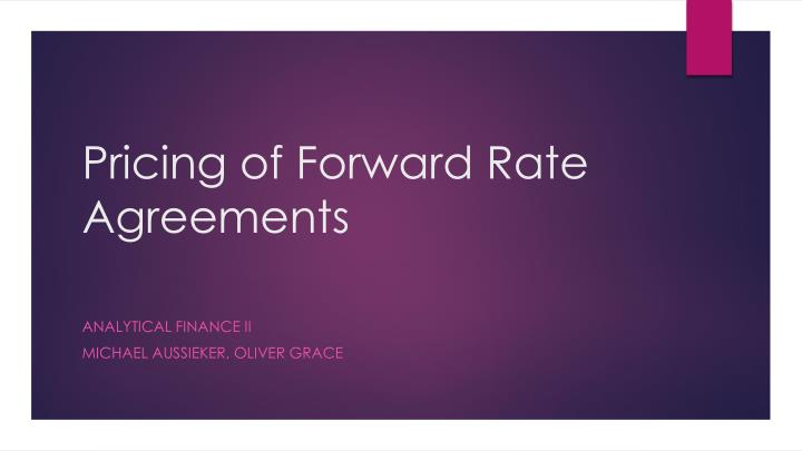 pricing of forward rate agreements n.