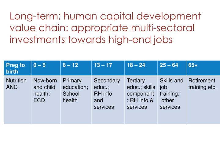 Long-term: human capital development value chain: appropriate multi-sectoral investments towards high-end jobs