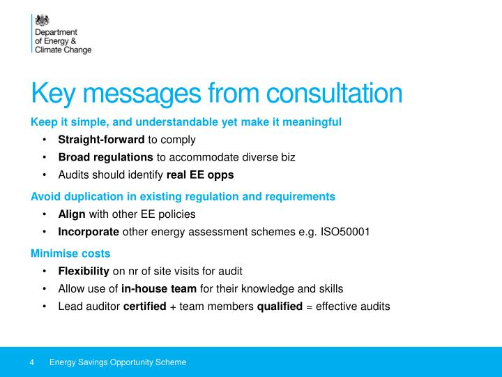 Key messages from consultation