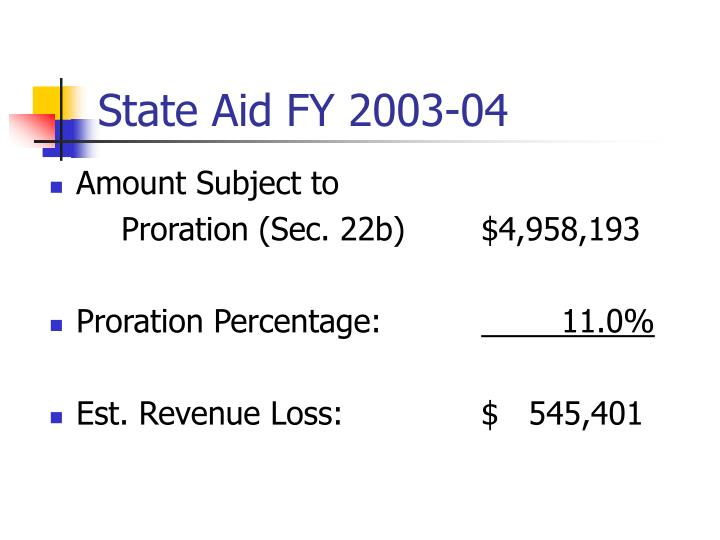 State Aid FY 2003-04