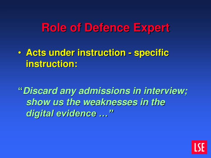 Role of Defence Expert