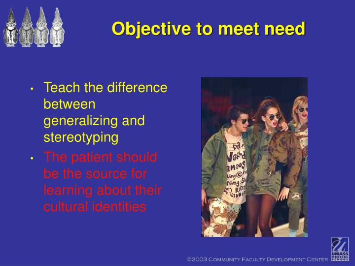 Objective to meet need