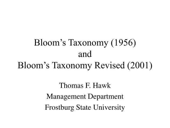 bloom s taxonomy 1956 and bloom s taxonomy revised 2001 n.