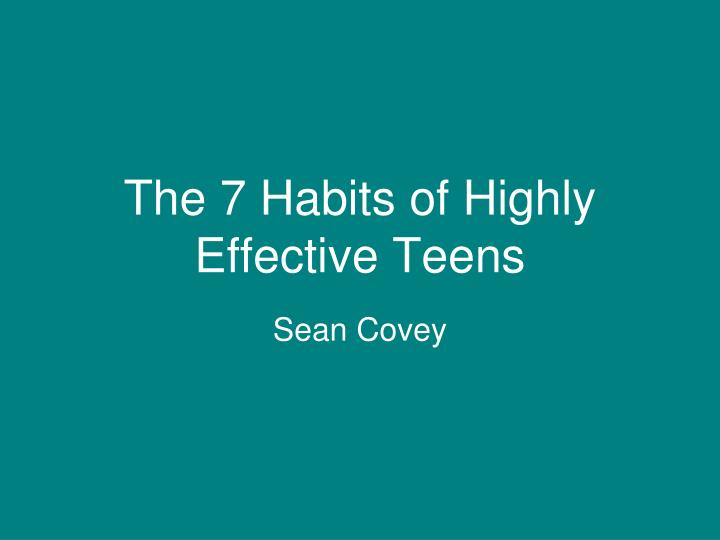 the 7 habits of highly effective teens n.