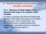 3 1 results analysis of air cushion surge chamber calculation