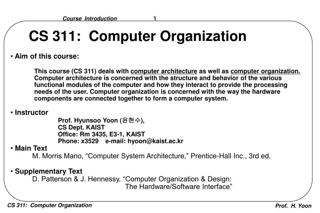 Ppt Cs 311 Computer Organization Powerpoint Presentation Free Download Id 7057927