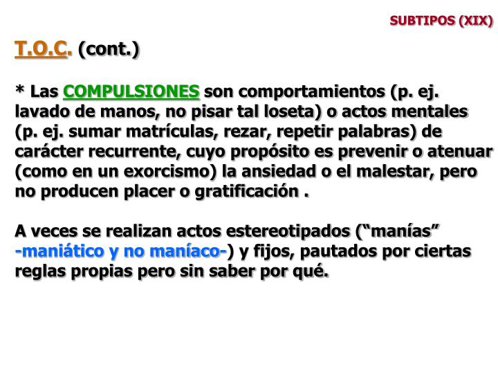 SUBTIPOS (XIX)