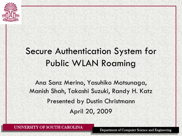 secure authentication system for public wlan roaming n.