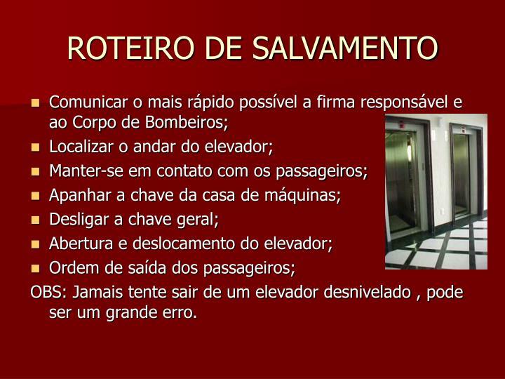 ROTEIRO DE SALVAMENTO