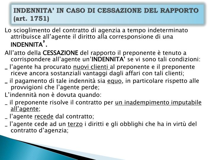 INDENNITA' IN CASO