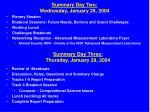 summary day two wednesday january 28 2004