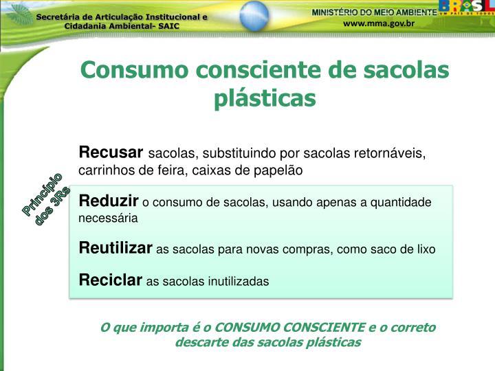 Consumo consciente de sacolas plásticas
