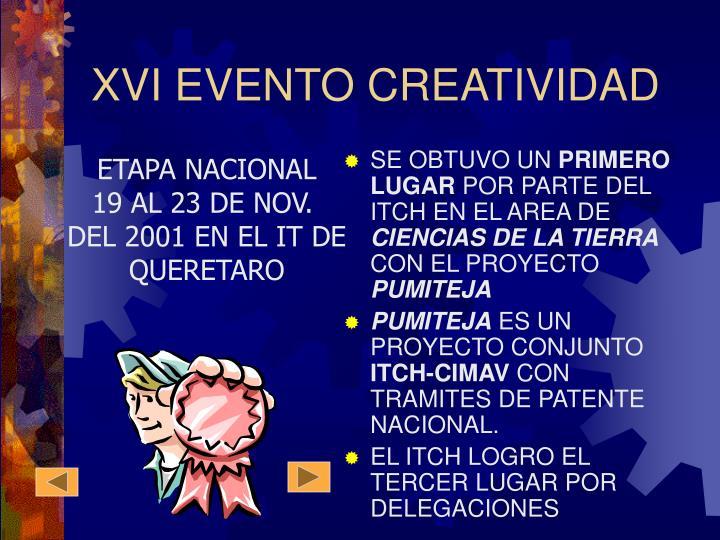 XVI EVENTO CREATIVIDAD