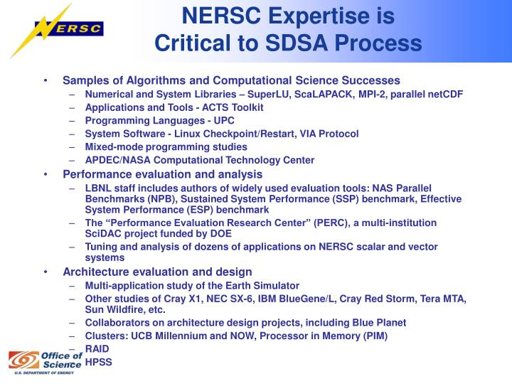 NERSC Expertise is