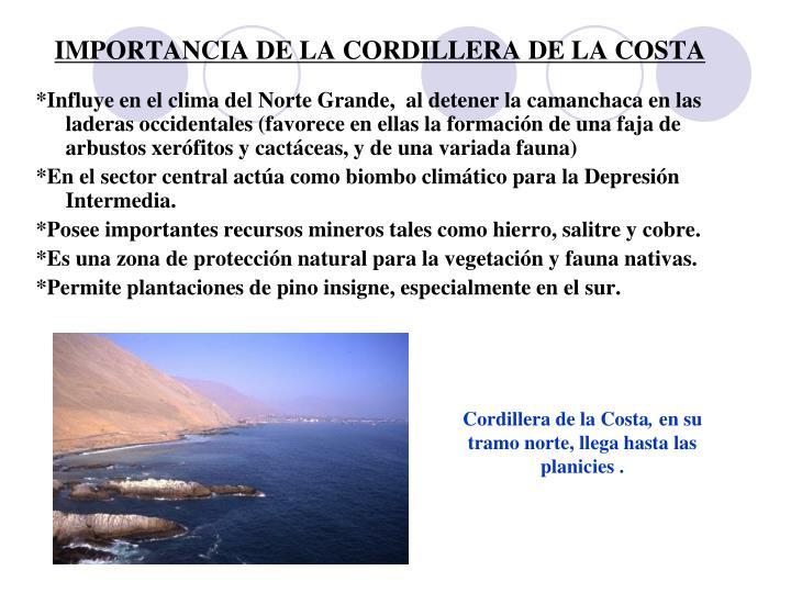 IMPORTANCIA DE LA CORDILLERA DE LA COSTA
