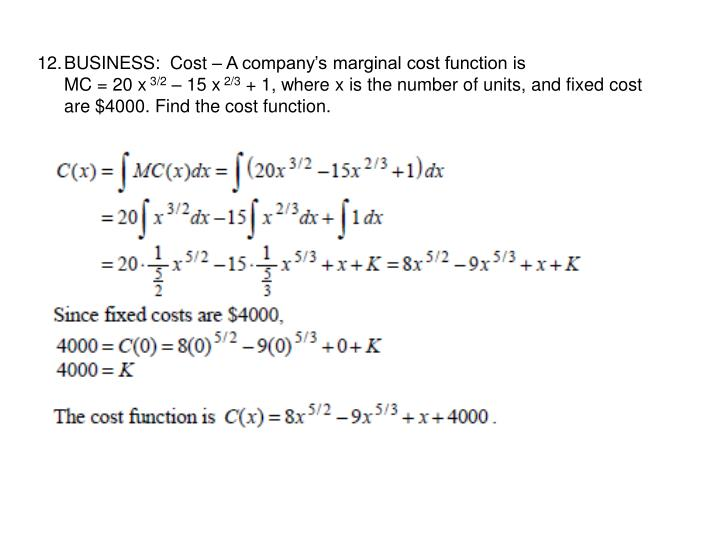 BUSINESS:  Cost – A company's marginal cost function is