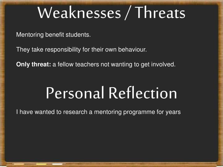 Weaknesses / Threats