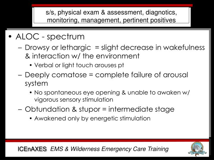 s/s, physical exam & assessment, diagnotics, monitoring, management, pertinent positives