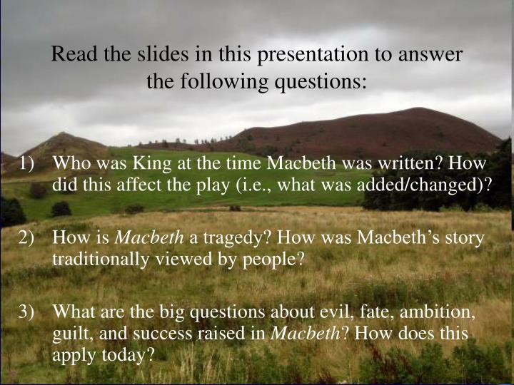Read the slides in this presentation to answer the following questions