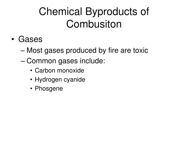 Chemical Byproducts of Combusiton