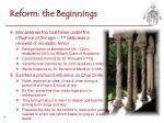 reform the beginnings