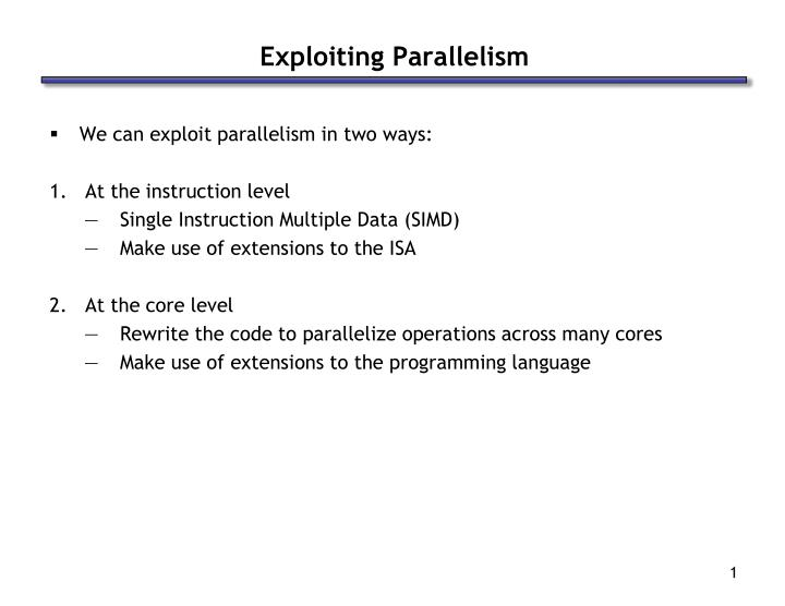 exploiting parallelism n.