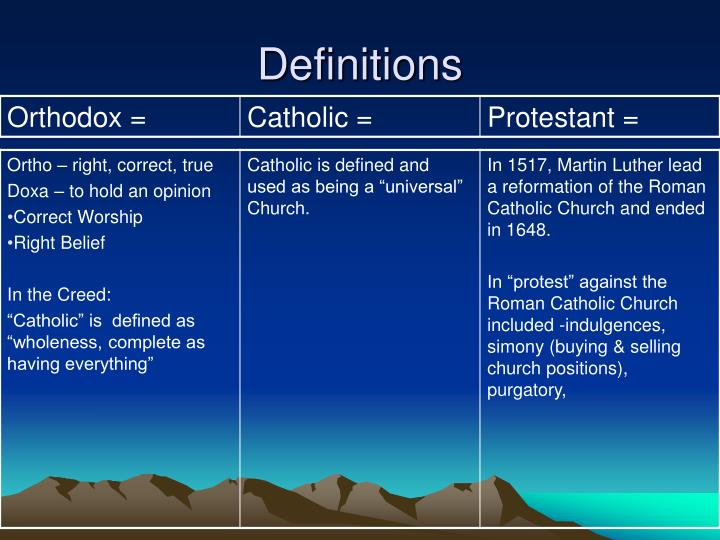the difference between catholic and protestant churches essay The main difference between eastern orthodox and roman catholic christianity has to do with the recognition of the pope roman catholics recognize the pope as infallible the pope has supreme authority over all churches, speaking to the universal church on matters of faith, in his capacity as successor to peter.