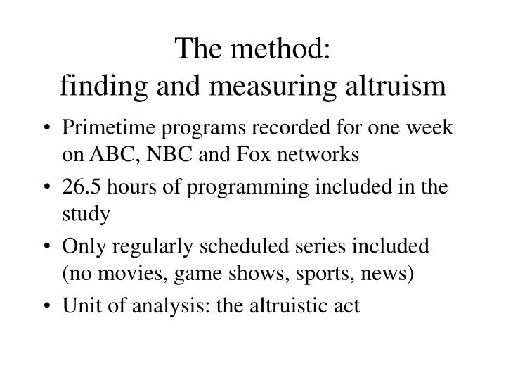 The method:
