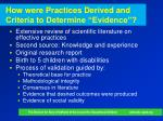 how were practices derived and criteria to determine evidence