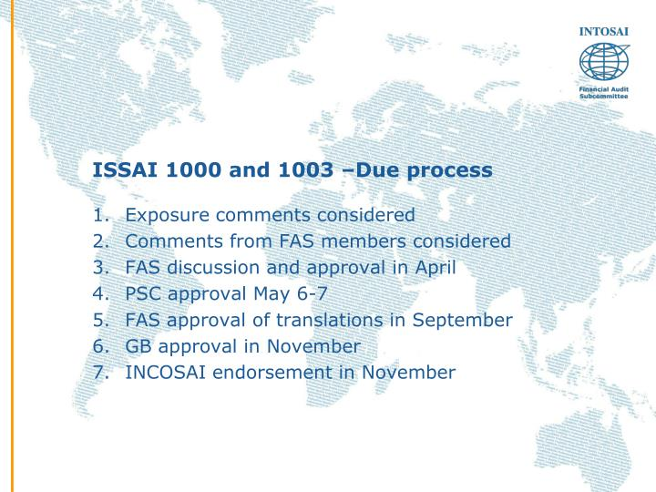Issai 1000 and 1003 due process