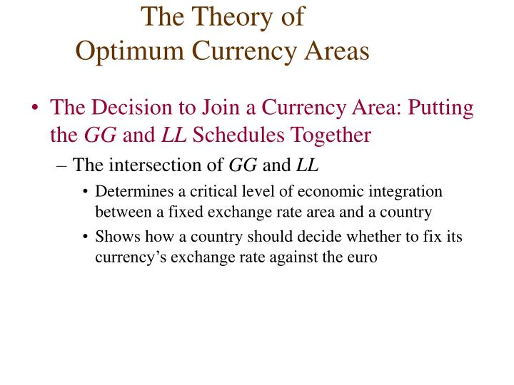 the optimum currency areas theory Robert alexander mundell, cc (born october 24, 1932) is a canadian economistcurrently, he is a professor of economics at columbia university and the chinese university of hong kong.